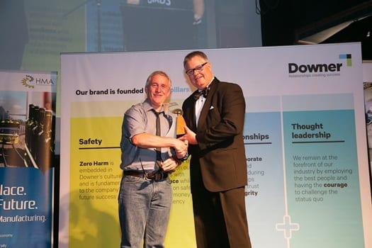 Pierre Sidow, Business Deveopment Manager, Varley - accepting the Rising Star Award on behalf of Nicholas Percy - Varley with Greg Whitely, MD - Whiteley Corporation